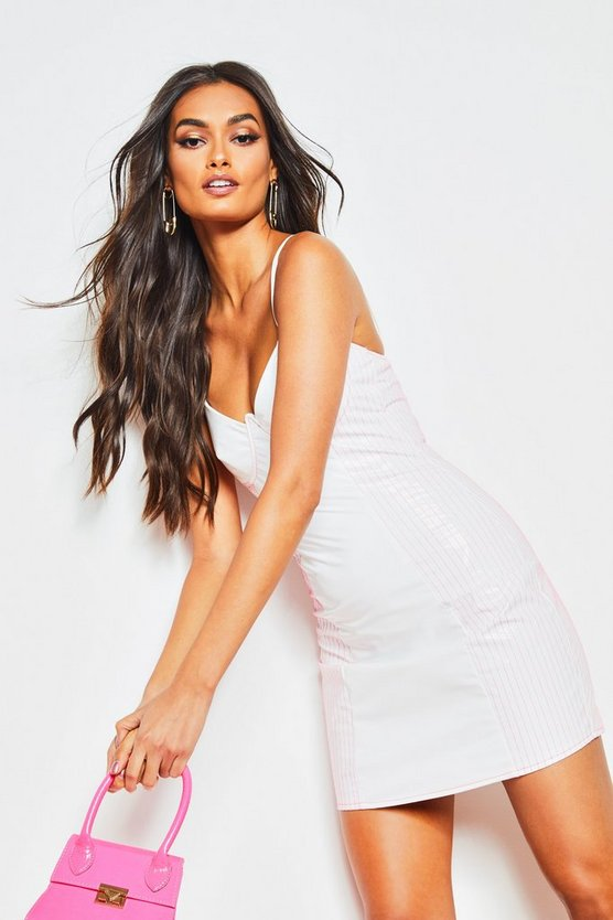 White Neon Stitch Vinyl Bodycon Dress
