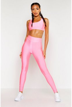 Womens Neon-pink Fit Neon Crop Top & Legging Set