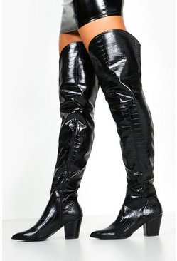 Dam Black Croc Thigh High Western Boots