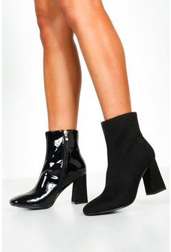 Womens Black Mix Panel Block Heel Shoe Boots