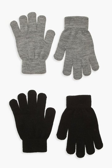 Womens Grey 2 Pack Magic Gloves