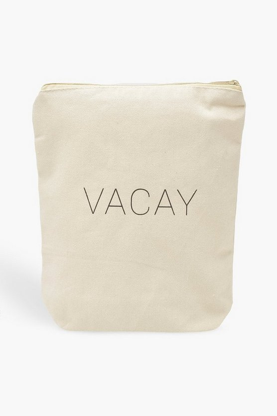 White Boohoo Vacay Wash Bag