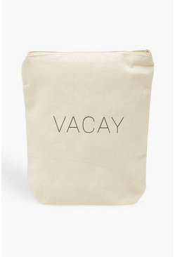 Womens White Boohoo Vacay Wash Bag