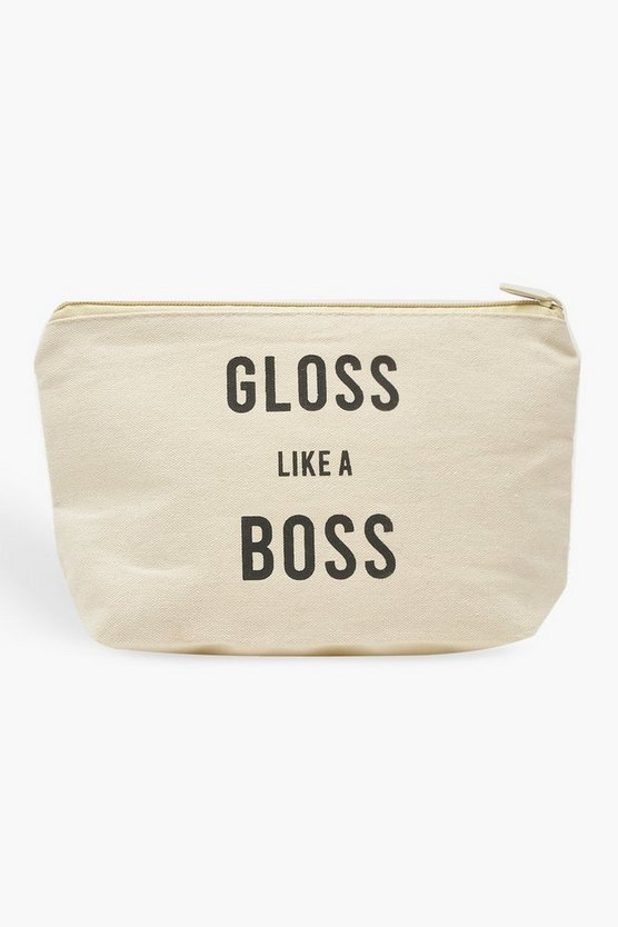Boohoo Gloss Like A Boss Make-up-Tasche, Weiß, Damen