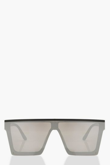 Black Oversized Mirrored Visor Sunglasses
