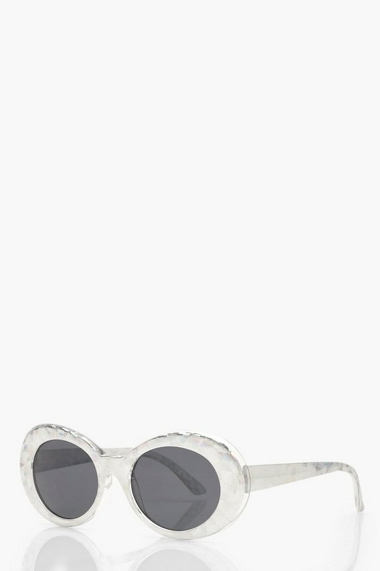 Iridescent Frame Round Sunglasses
