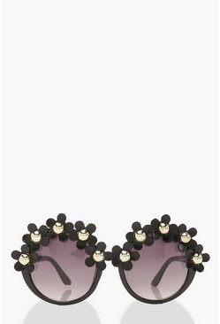 Womens Black Oversized Round Flower Top Fashion Glasses