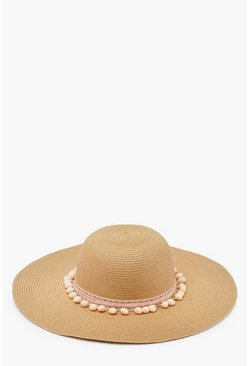 Womens Natural Pom Pom Trim Straw Floppy Hat