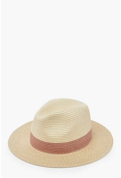 Womens Natural Two Tone Straw Fedora Hat