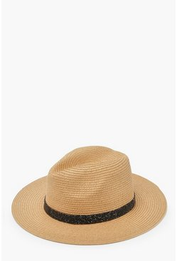 Womens Natural Straw Fedora With Black Diamante Trim
