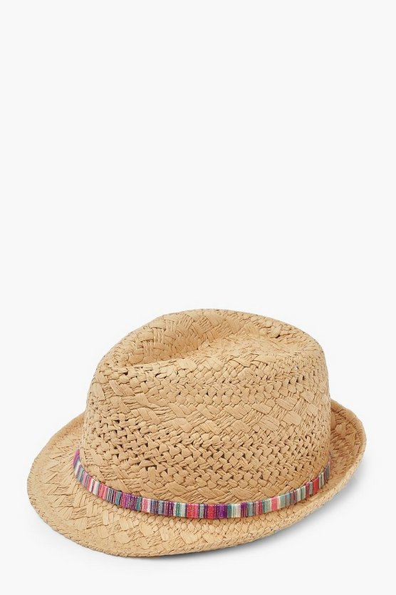 Womens Natural Straw Fedora With Multi Colour Trim