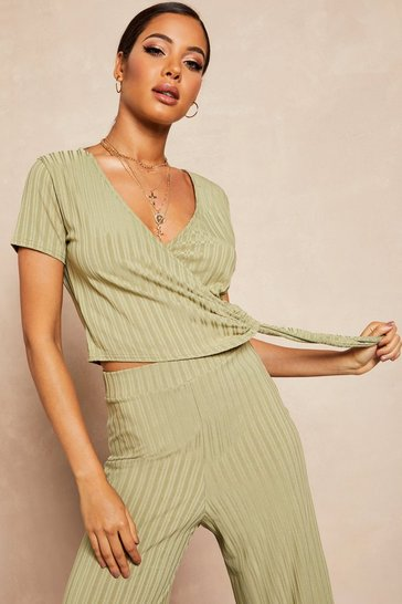 Womens Sage Recycled Ribbed Wrap Tie Detail Top