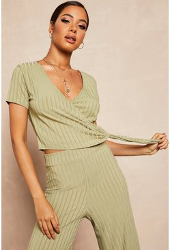 Womens Honey Recycled Ribbed Wrap Tie Detail Top