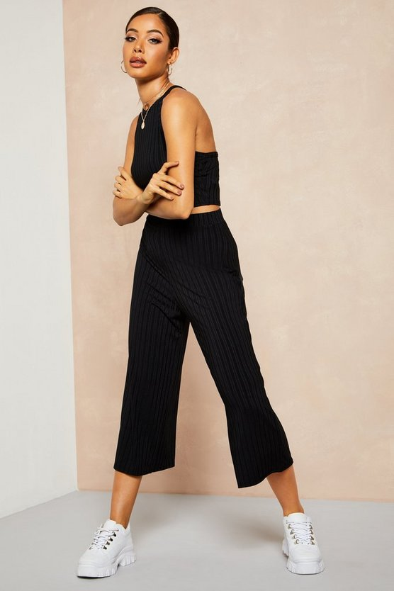 Black Recycled Rib Wide Leg Culotte Trouser