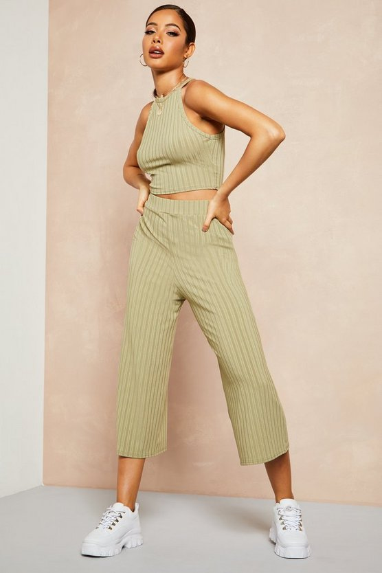 Womens Sage Recycled Rib Wide Leg Culotte Trouser