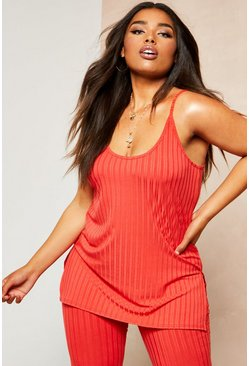 Womens Red Recycled Rib Long Line Cami Vest