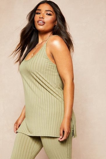 Sage Recycled Rib Long Line Cami Vest
