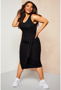 Womens Black Recycled Rib Tie Waist Midi Dress