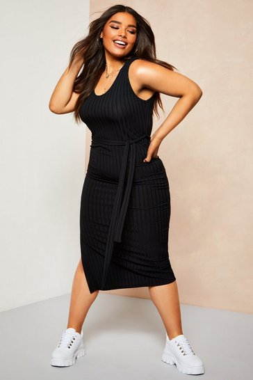 Black Recycled Rib Tie Waist Midi Dress
