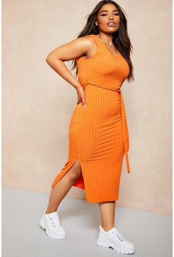 Womens Burnt orange Recycled Rib Tie Waist Midi Dress