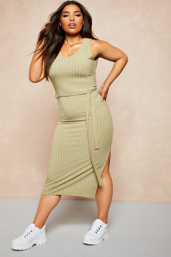 Womens Sage Recycled Rib Tie Waist Midi Dress