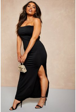 Womens Black Recycled Slinky Split Side Bandeau Maxi Dress
