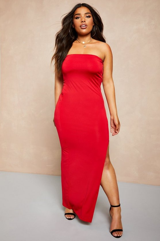 Red Recycled Slinky Split Side Bandeau Maxi Dress