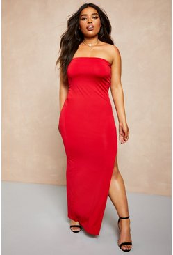 Womens Red Recycled Slinky Split Side Bandeau Maxi Dress