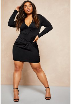 Womens Black Recycled Slinky Wrap Over Bodycon Dress