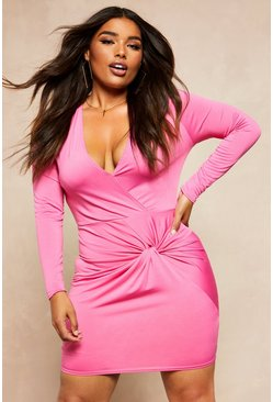 Womens Hot pink Recycled Slinky Wrap Over Bodycon Dress