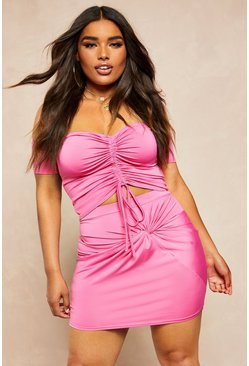 Womens Hot pink Recycled Slinky Twist Front Mini Skirt