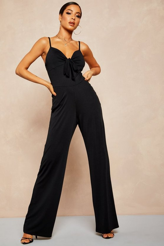 Black Recycled Slinky Tie Front Wide Leg Jumpsuit