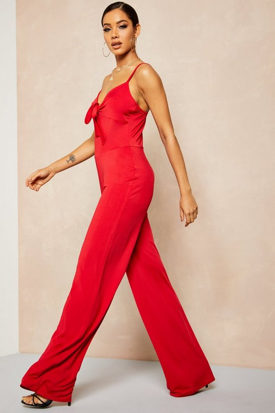 Red Recycled Slinky Tie Front Wide Leg Jumpsuit