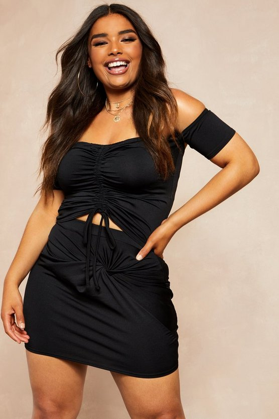 Womens Black Recycled Slinky Ruched Bardot Top