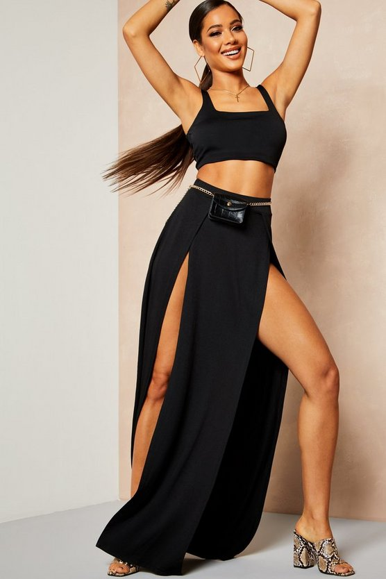 Womens Black Recycled Slinky Double Split Maxi Skirt