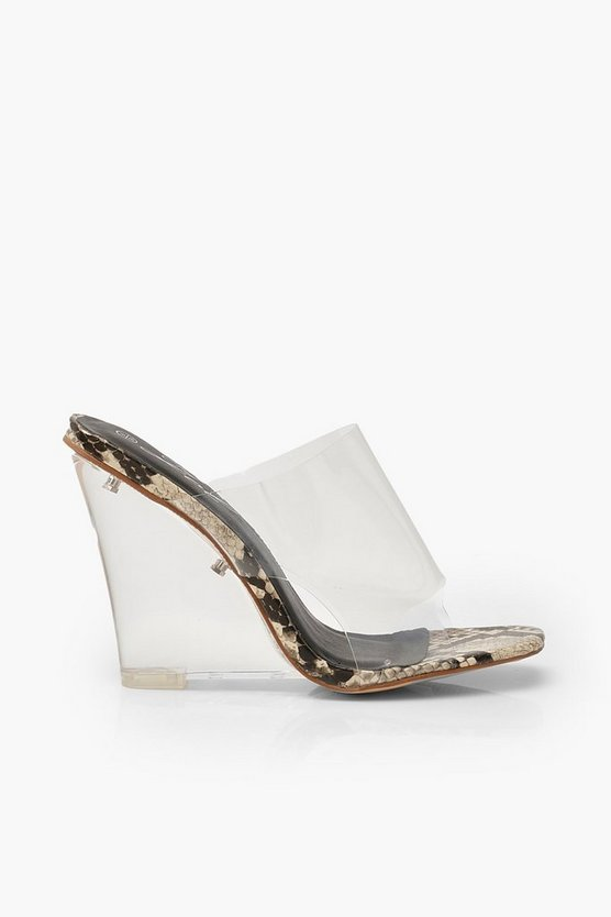 Clear Wedge Mules