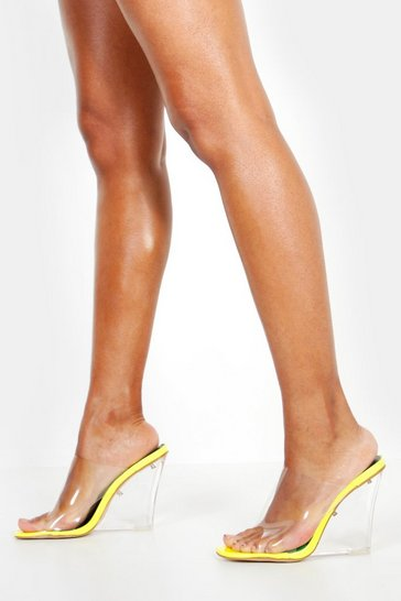 Womens Yellow Clear Wedge Mules