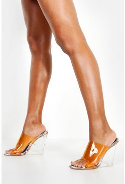 Womens Orange Snake Clear Wedge Mules