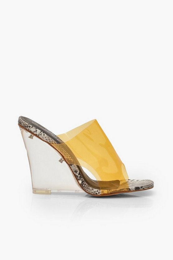 Snake Clear Wedge Mules