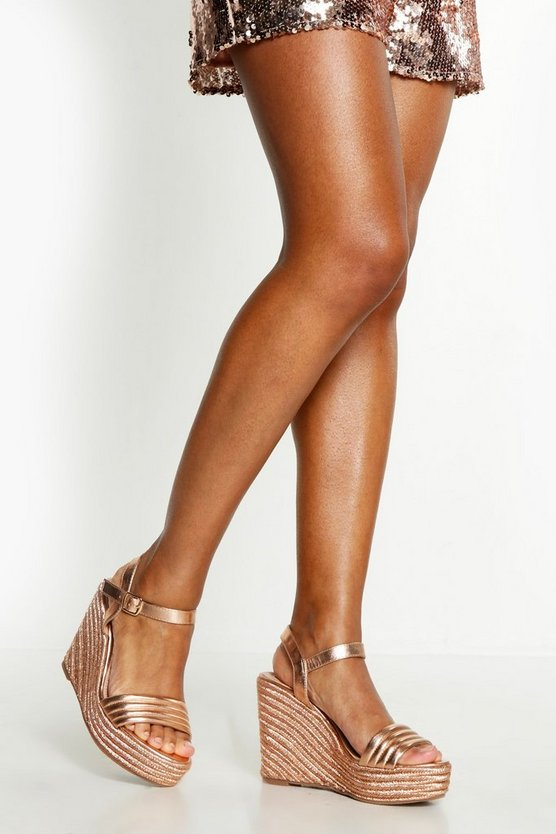 Womens Rose gold Metallic Padded Strap Wedges