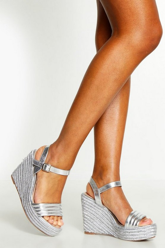 Womens Silver Metallic Padded Strap Wedges
