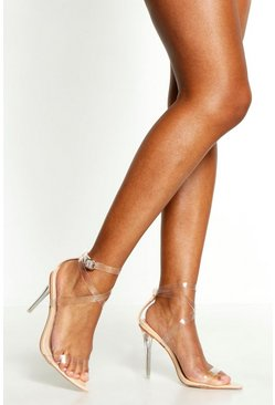 Nude Cross Clear Strap Pointed Toe Heels
