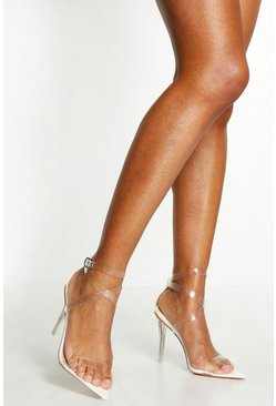 Womens White Cross Clear Strap Pointed Toe Heels