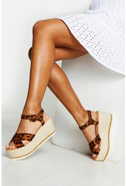 Womens Cross Strap Leopard Print Wedges