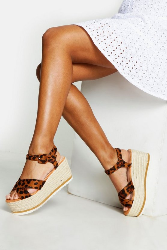 Womens Leopard Cross Strap Leopard Print Wedges