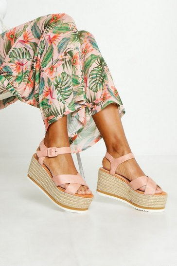 Womens Blush Cross Strap Espadrille Wedges