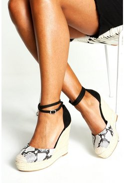 Womens Grey Ankle Wrap Strap Espadrille Wedges