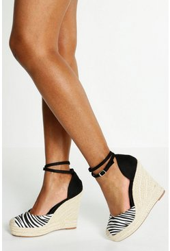 Womens White Ankle Wrap Strap Espadrille Wedges
