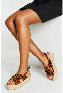 Womens Cross Strap Leopard Flatforms