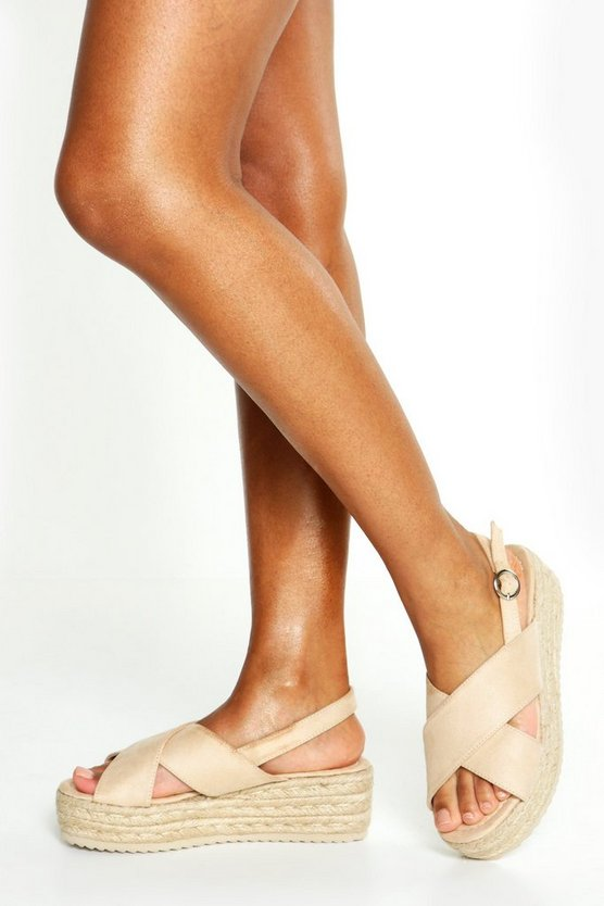 Womens Beige Cross Strap Espadrille Flatforms